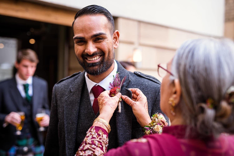 Smiling groom at Hotel Du Vin Edinburgh
