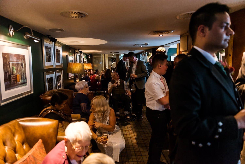 Reception drinks in the Whisky snug at Hotel Du Vin Edinburgh