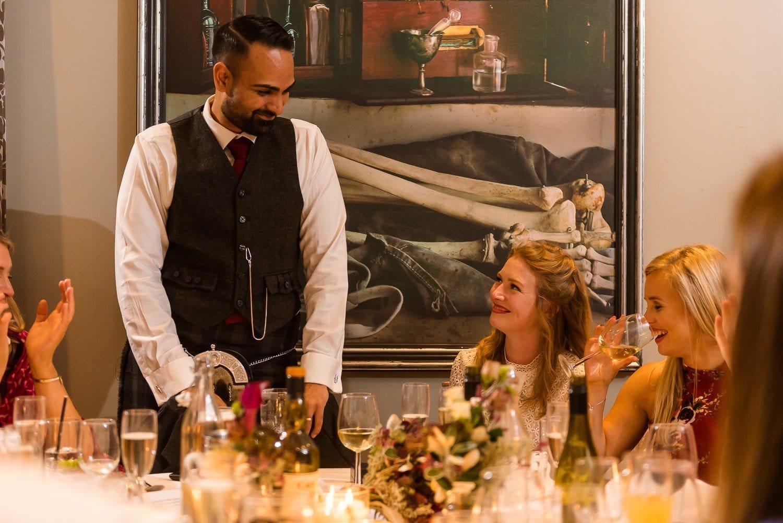 Evening speeches at Hotel Du Vin wedding