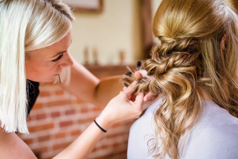 Bridal hair prep for Hardingham church wedding