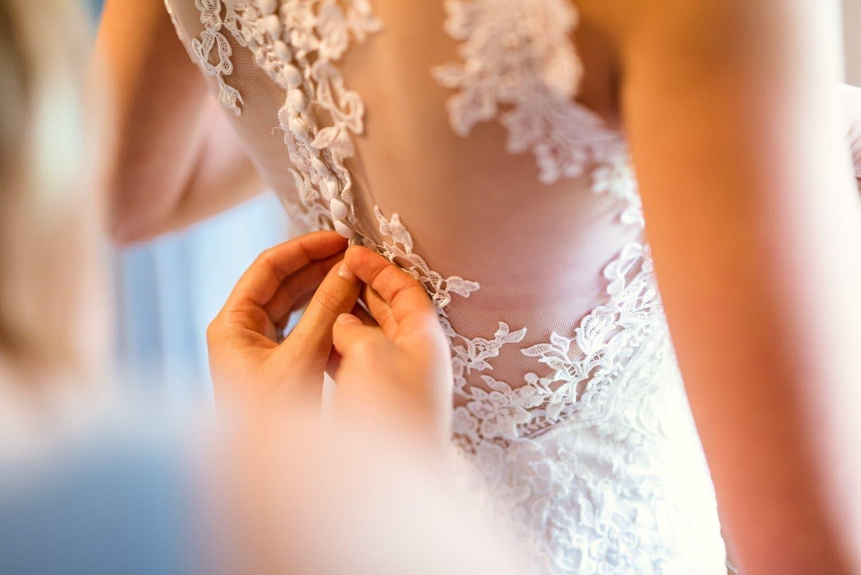 Norfolk Brides wedding dress during prep