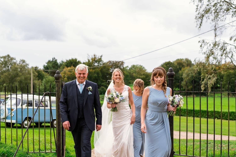 Bridal part arrives at Hardingham Church