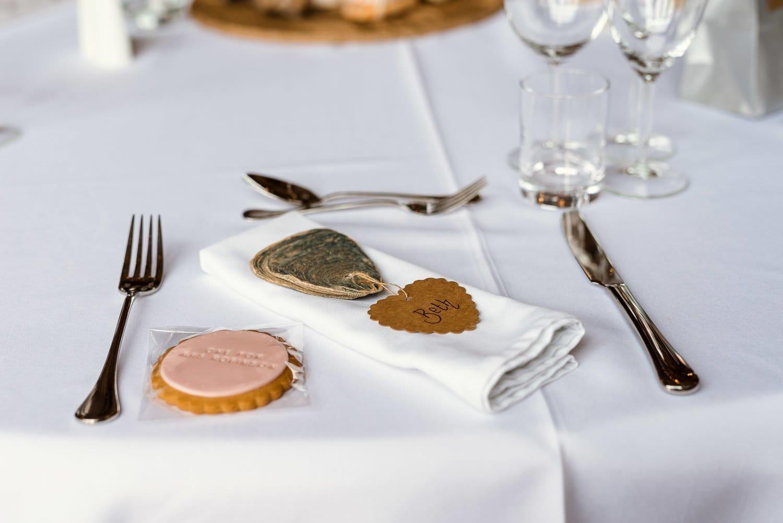 Wedding table settings at Southwood Hall