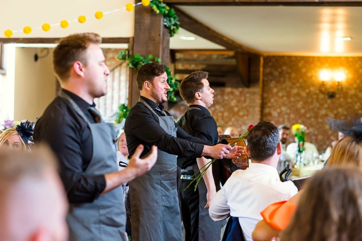 Singing Waiters at White Hart Essex Barn Wedding