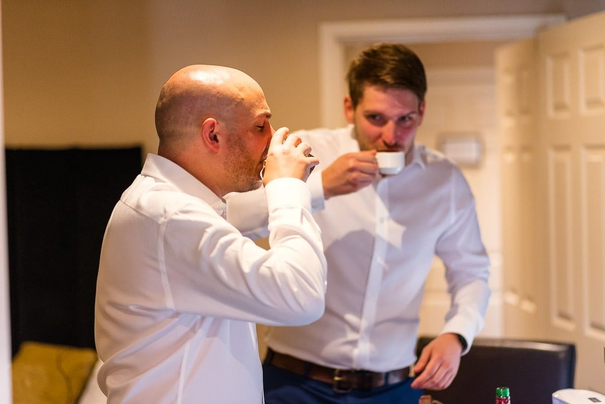 Groom prep at the White Hart