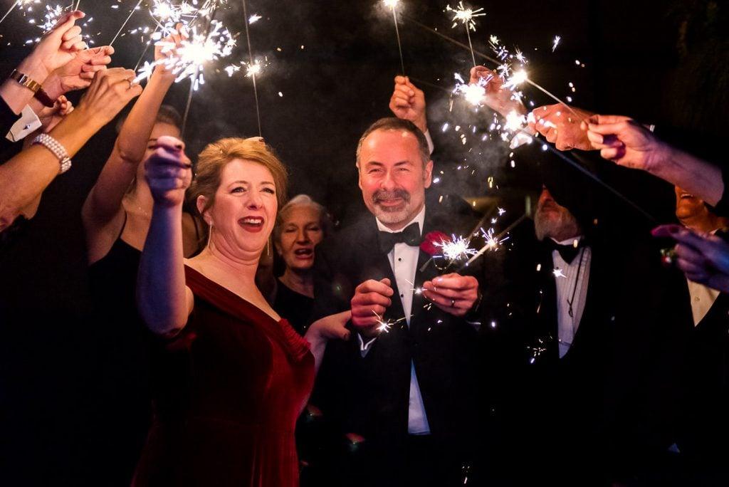 Sparkler exit at Norwich City wedding