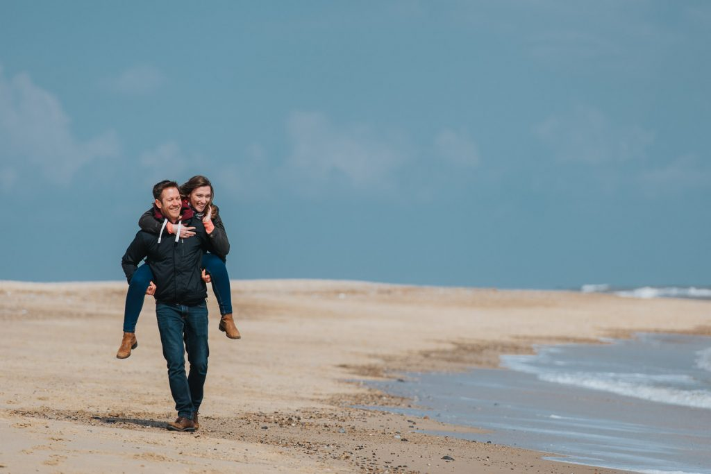 Engagement photography session on Norfolk Beach
