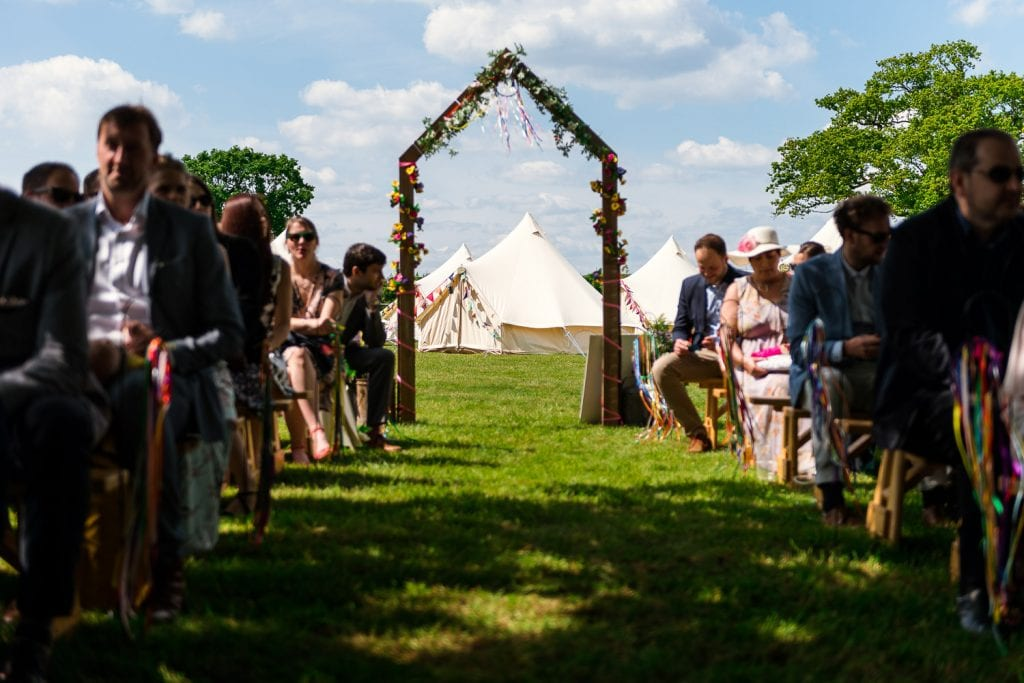 Bell tents at Rookery Meadow festival wedding