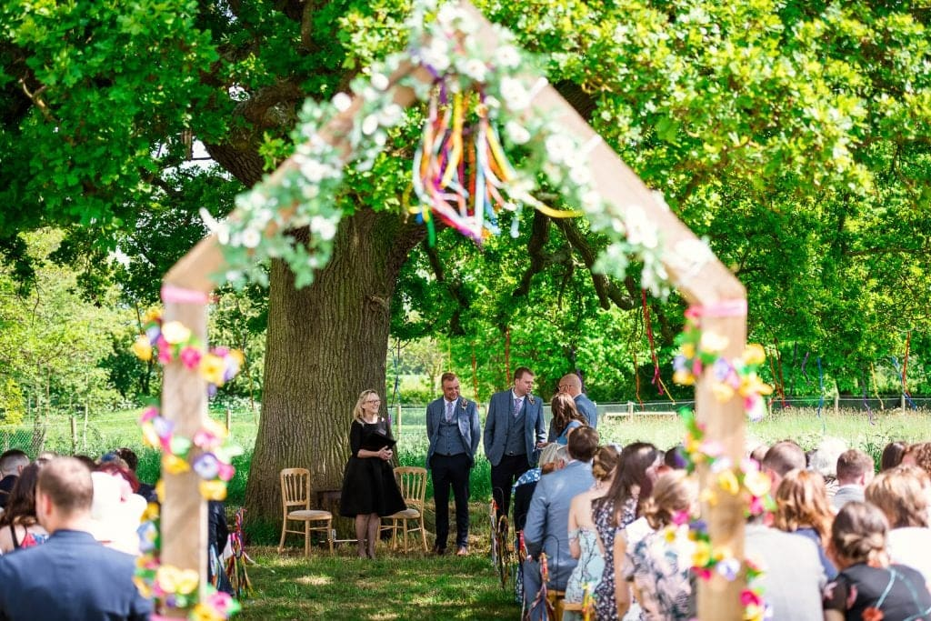 Outdoor festival wedding at Rookery Meadow