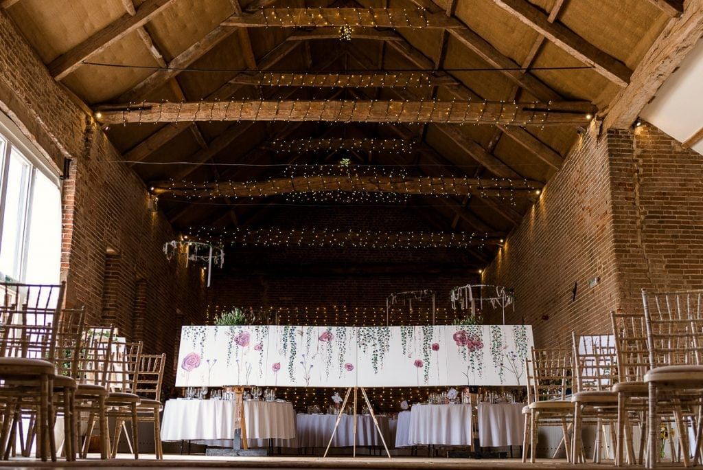 The Great Barnb eautifully decorated for wedding at Manor Mews