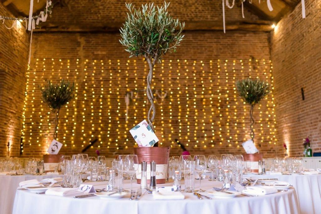 Olive tree wedding table decoration