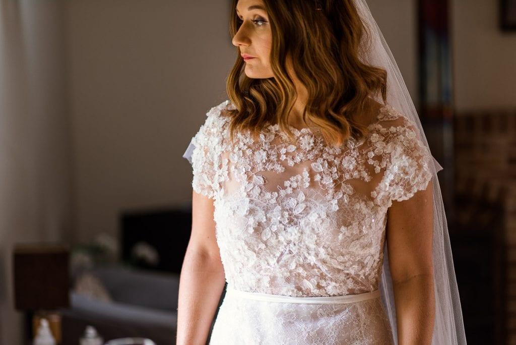Helen in her beautiful wedding dress at Manor Mews