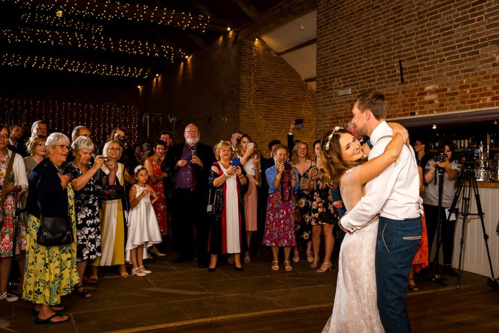 Helen and Tim's first dance at their Manor Mews wedding