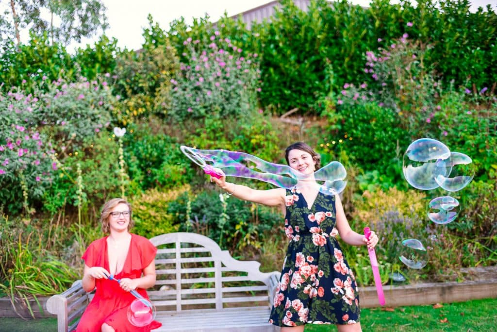 Fun with bubbles during wedding at Manor Mew